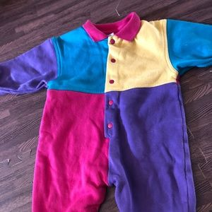 80s One Piece Baby Pink Purple green yellow 18 M